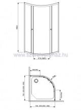 Akril zuhanytálca kabinnal szifonnal 80x80 íves