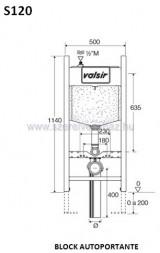 Valsir tropea s block wc tartály 120mm  gipszkartonhoz